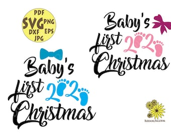 Babys First Christmas Svg Etsy