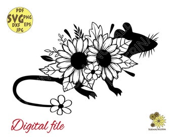 Flower Rat Silhouette with daisies and leaves svg file, Rat Svg, Flower Mouse Svg, Farm life Svg, Rat Svg, Floral Mouse silhouette,Rat lover
