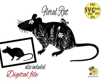 Rat with Plants and Leaves Svg file, Botanical Rat with Butterfly Svg, Flower Mouse Svg, Farm life Svg, Rat Svg, Floral Mouse silhouette