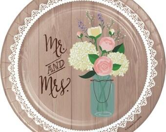 "Burlap Blossom Coated Paper Salad Plates 7/"" 36Ct"