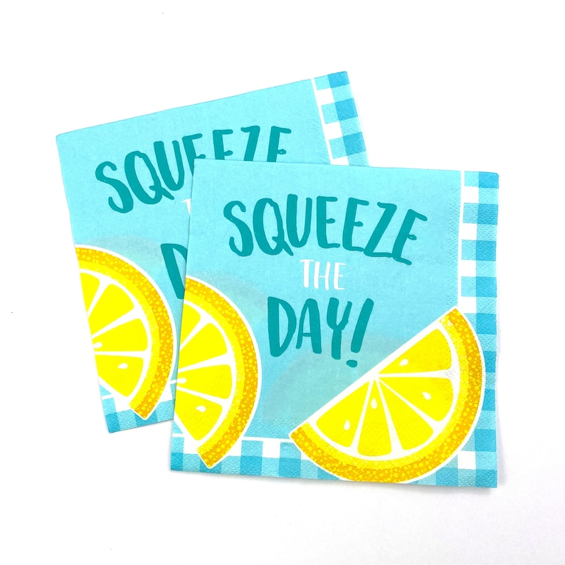 Baby Shower Lemon Paper Plate Summer Blue Lemonade Bridal Birthday Yellow Squeeze The Day 7in Paper Plate