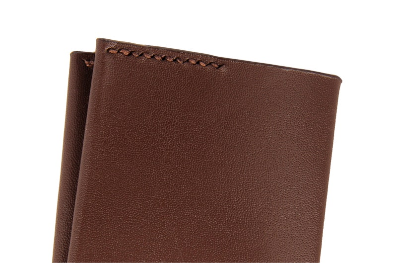 Kangaroo Leather Business Card Wallet Handcrafted and Customised Dark Brown