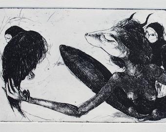 Creatures Tamer, Original black and white etching print, printmaking art, surreal art, Harpy eagles, ravens gravure, Antropomorphic animals