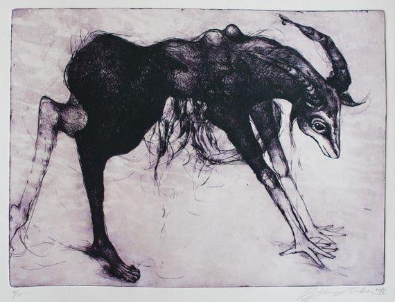 Engraving Creature walking Elegant art. Surrealistic creature etching original Dark art Unique art print Gravure Art for dreamers