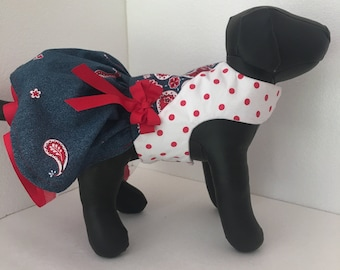 Daisy Kingdom Fabric Dress, Fancy Dress, Party Dress, Small Dog Clothes, Western Girl Clothes,