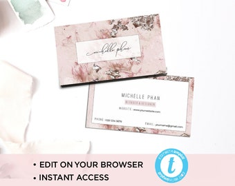 Super elegant business card template/ Modern business card/calling card / business card design / pink/ calligraphy business card/printable