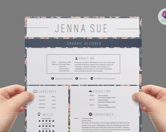 Vintage CV Template Resume Cover Letter Modern Professional Word Floral 1 Page