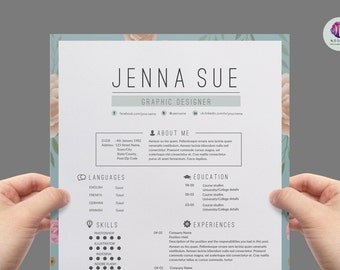 Vintage CV Template Cover Letter Reference Background Floral Resume Professional