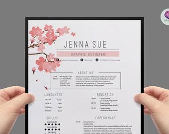 floral resume etsy