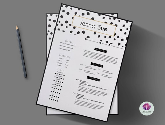modern chic 2 page resume template cover letter 2 page cv etsy