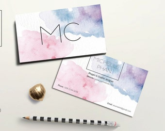 Watercolor business card/business card template/creative/elegant/calling card/business card design/modern business card/printable/watercolor