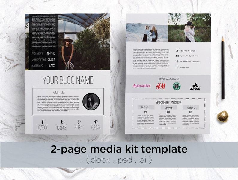 . Modern media kit   creative 2 page media kit template   clean blog press  kit   clean and modern design