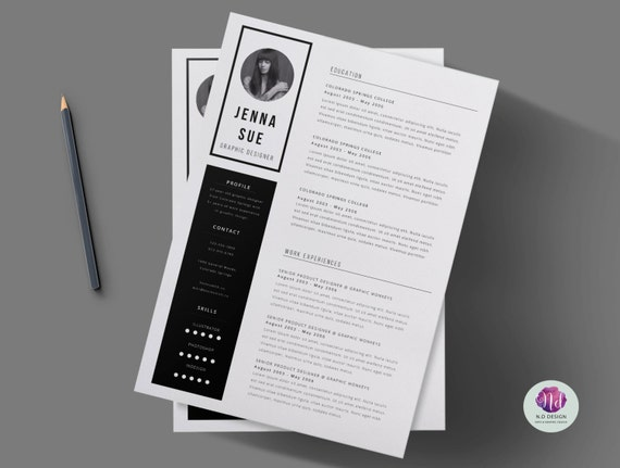 black white 2 page cv template cover letter minimal etsy