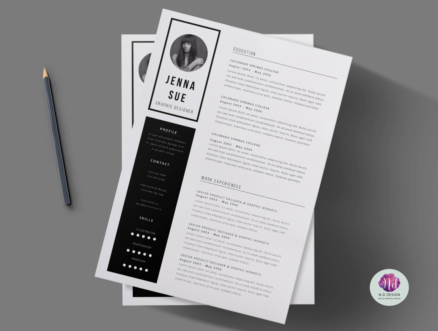 Black & white 2 page CV template cover letter / Minimal | Etsy