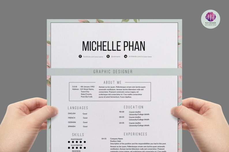 Floral Elegant Resume Template Cover Letter
