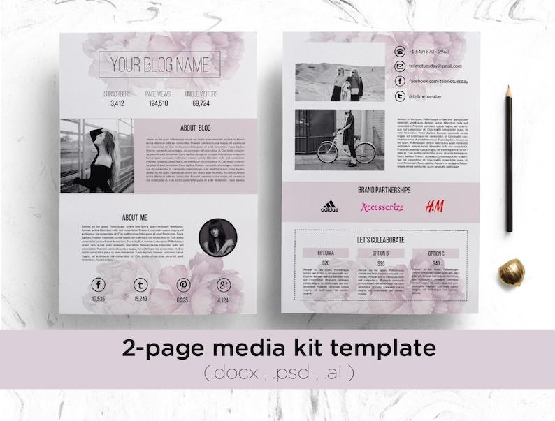 . Floral 2 page media kit template   Modern media kit  blog media kit blog  press kit  press kit template blogger media kit social media kit