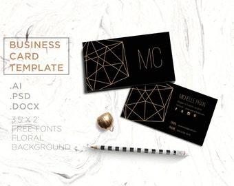 Creative business card template/business card/custom business card/business card design/modern business card/geometric/printable/gold