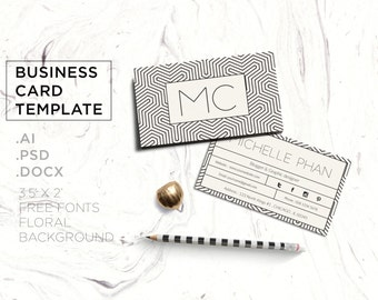 Geometric business card template/modern business card/business card design/creative/calling card/printable card/printable/instant download