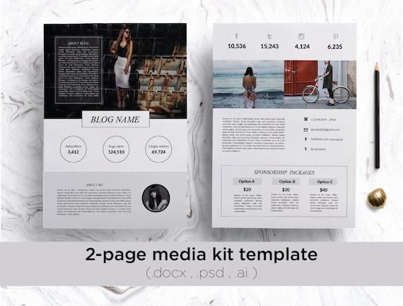 . Modern 2 page media kit  media kit template Custom media kit press  kit Creative media kit blog media kit social media kit blogger