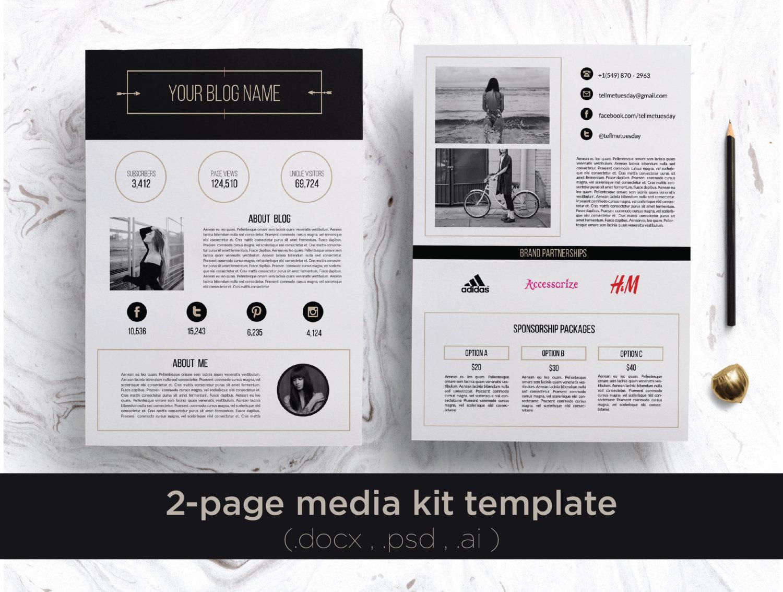 . Modern 2 page media kit  blog press kit  blog media kit blog press  kit press kit template blogger media kit creative media kit blog kit