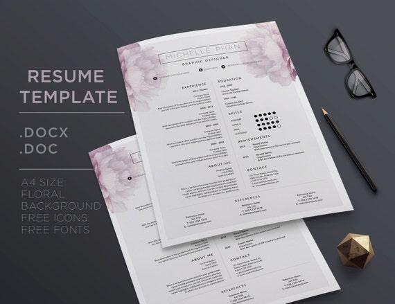 Elegante CV Vorlage / Anschreiben 1 Seite Lebenslauf Vorlage | Etsy