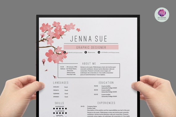 Resume template / CV template cover letter template | Etsy