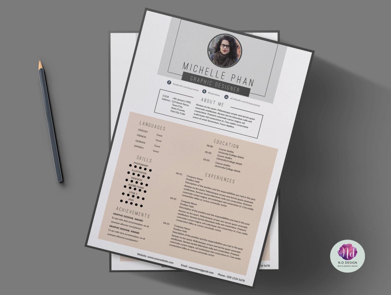 Reanudar la plantilla plantilla de CV plantilla de carta de | Etsy
