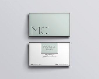 Minimal business card/business card template/minted green/card template/custom business card/business card design/calling card/printable