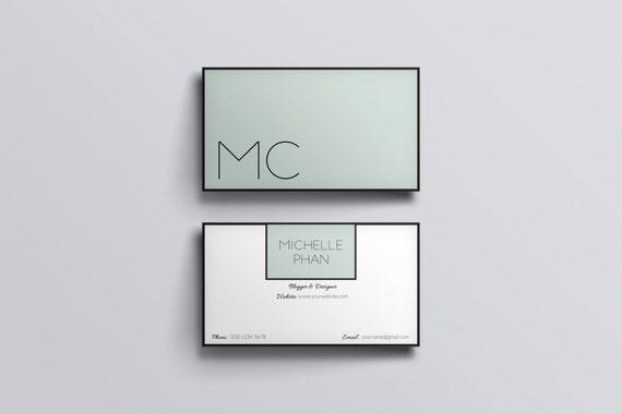 Minimal business cardbusiness card templateminted greencard etsy image 0 colourmoves