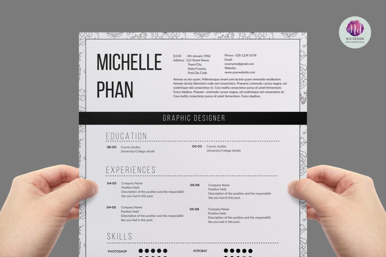 Plantilla CV moderno plantilla de carta de presentación | Etsy