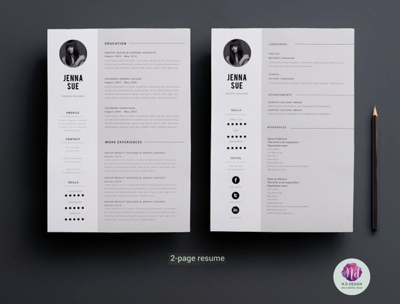 minimal 2 page resume design 2 page cv template cover etsy