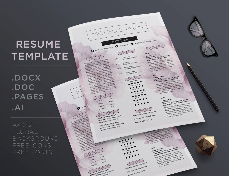 Plantilla CV creativo / reanudar templatet carta 1 página CV   Etsy