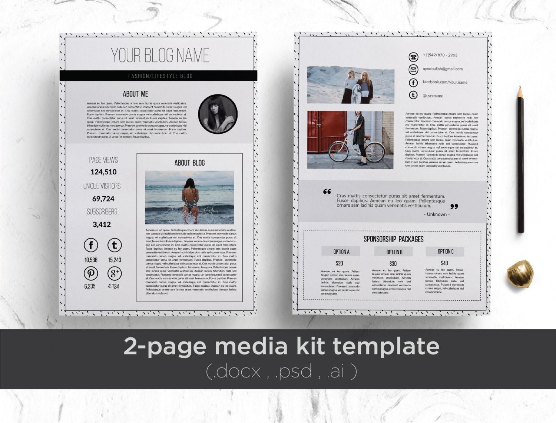 . 2 page media kit template   floral background     2 page professional press  kit   modern media kit   elegant media kit  blog press kit