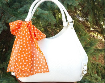 Handbag Scarf  Orange   White Polka Dots 200231d5f6bf3
