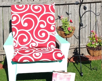 Outdoor Seat Cushion: Lagoon Red &White, Lattice, Geometric, Floral Pattern Variety Décor Outdoor Seat cushions