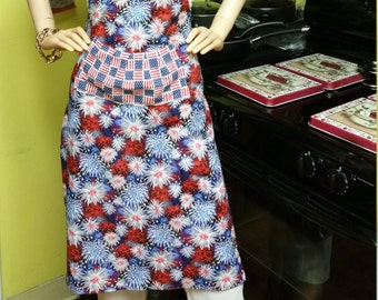 Apron: 4th of July-Red White & Blue Fireworks, Colorful Fireworks Fancy Kitchen Aprons