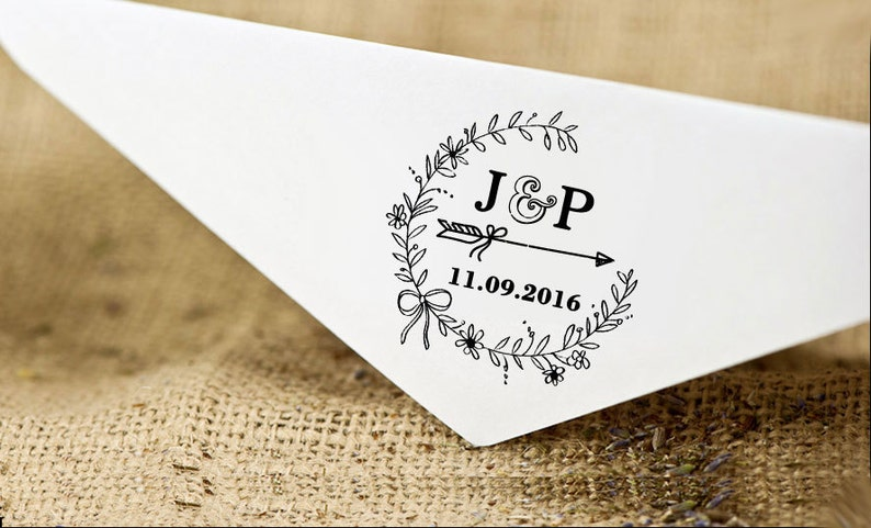 Round Wedding Stamp Invitation Stamp Self Inking Wedding Stamp Save The Date Stamp Personalized Rubber Stamp HS185P Custom Wedding Stamp