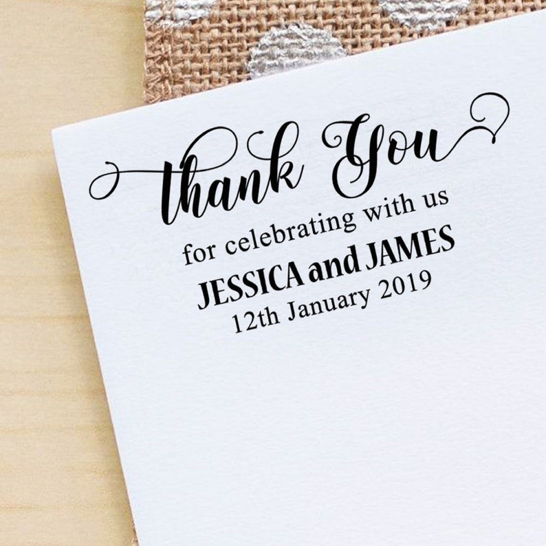 Wooden Mounted Stamp Custom Thank You Stamp Self Inking Wedding Rubber Stamp IPHS115A Personalized Envelope Stamp Save The Date Stamp