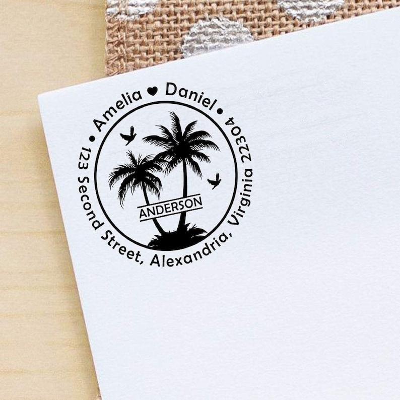 Self Inking Stamp Wedding Invitation Stamp IPHS704A Custom Logo Stamp Circle Monogram Stamp Round Custom Stamper Return Address Stamp