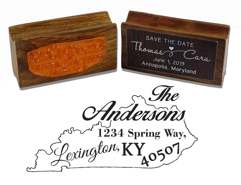 Custom Kentucky State Map Rubber Stamp Custom Return Address Stamp Wood Mounted Rubber Stamps IPSW-222A Personalized State Map Stamper