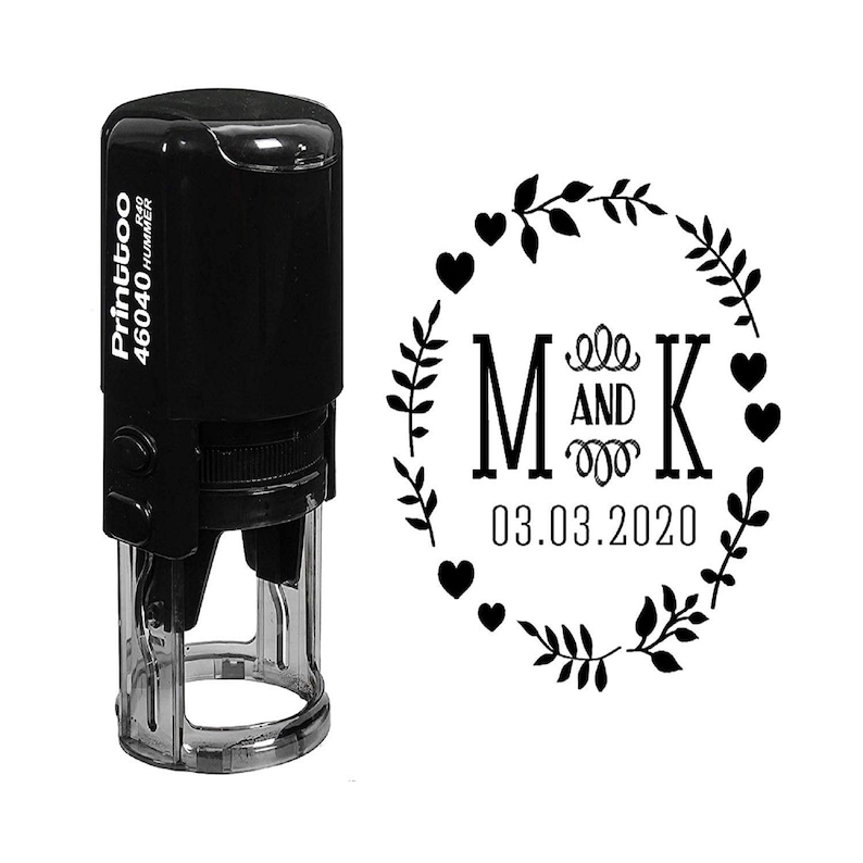 Monogram Stamper Personalized Name Stamp Heart /& Leaves Printed Stamp Wedding Date Stamp IPHS636A Engagement Stamp Round Rubber Stamps