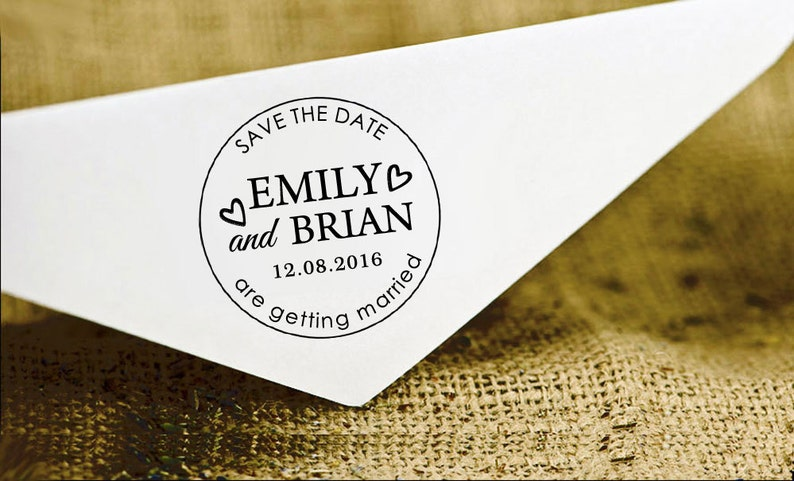 Invitation Stamp Round Wedding Stamp Save The Date Personalized Rubber Stamp HS166P Self Inking Wedding Stamp Custom Wedding Stamp