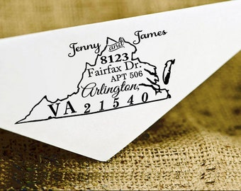 Custom Virginia State Map Stamp, Custom Return Address Stamp, Personalized Virginia Map Stamp,Calligraphy Stamp, Rubber Stamp Gift HS123P