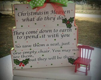 custom made christmas in heaven blocks with bow and chair