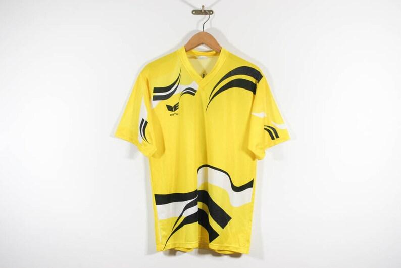 ERIMA . 90er Jahre . 80s. Vtg Fußball Trikot Trikot Sport Shirt T Shirt T Shirt Grafik . M Mittel . seltene Oldtimer europäischen Sportswear Street