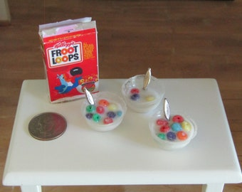 Fruit Loops cereal box, 2 full bowls, 1 almost eaten bowl.  1:12 scale