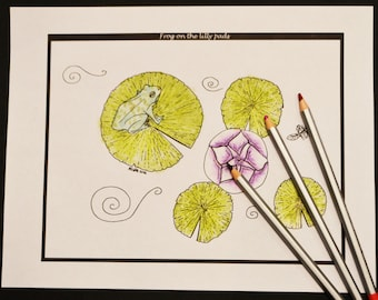 Frog On The Lily Pads Single Adult Coloring Page, Instant Download