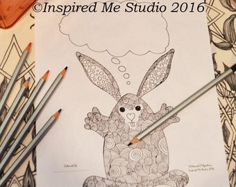 Huggy Bunny Message Coloring Page, Digital Download