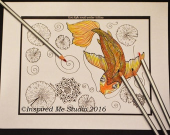 Koi Fish And Water Lilies, Single Digital Coloring Page