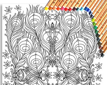 Peacock Repeat Colouring Page 'The Circus Girl Colouring Book'